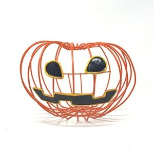 "Metal Halloween Jack O"" Lantern Open Back Basket"